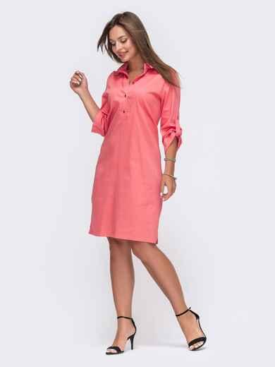 Коралловое платье-рубашка со шлевками на рукавах 49475, фото 1