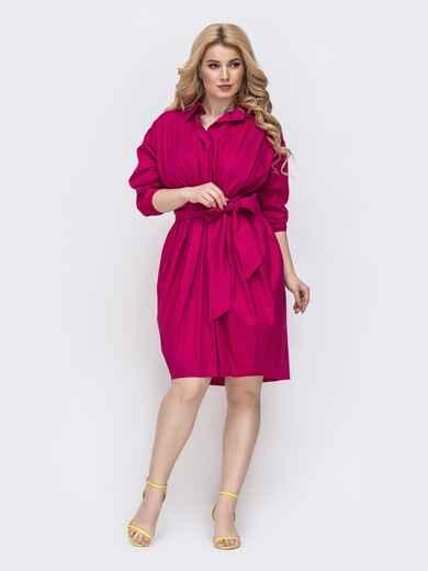 Платье батал приталенного кроя розовое 46288, фото 1