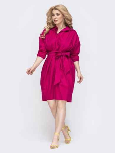 Платье батал приталенного кроя розовое 46288, фото 2