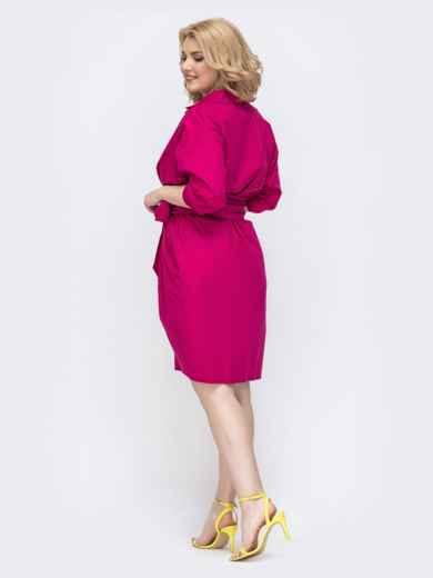 Платье батал приталенного кроя розовое 46288, фото 3