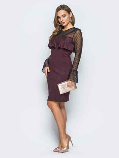 Платье с оборкой на полочке и рукавами из фатина бордовое - 18127, фото 2 – интернет-магазин Dressa