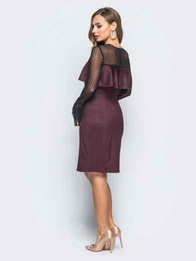 Платье с оборкой на полочке и рукавами из фатина бордовое - 18127, фото 3 – интернет-магазин Dressa