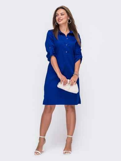 Синее платье-рубашка со шлевками на рукавах 49474, фото 1