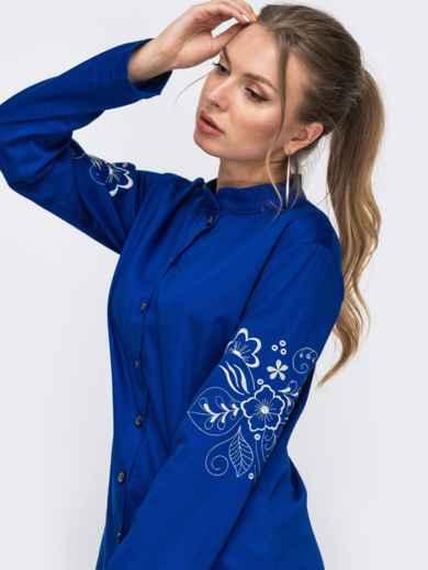 Синий комплект из рубашки с вышивкой на рукавах и брюк 49476, фото 2