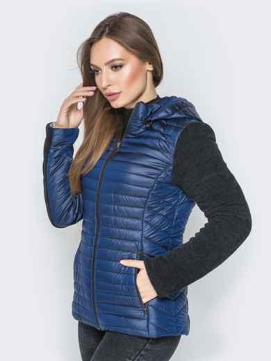 Синяя куртка с капюшоном на кулиске и велюровыми рукавами - 20287, фото 2 – интернет-магазин Dressa