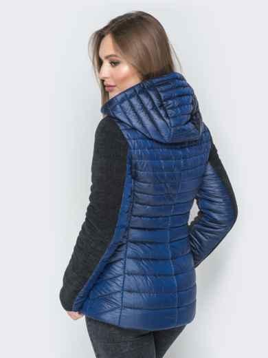 Синяя куртка с капюшоном на кулиске и велюровыми рукавами - 20287, фото 3 – интернет-магазин Dressa