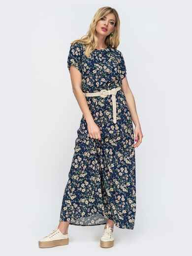 Тёмно-синее платье-макси с принтом и резинкой по талии 46844, фото 1