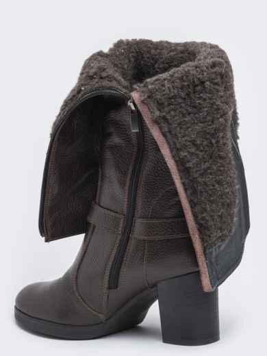 Зимние сапоги коричневого цвет на устойчивом каблуке - 41642, фото 3 – интернет-магазин Dressa