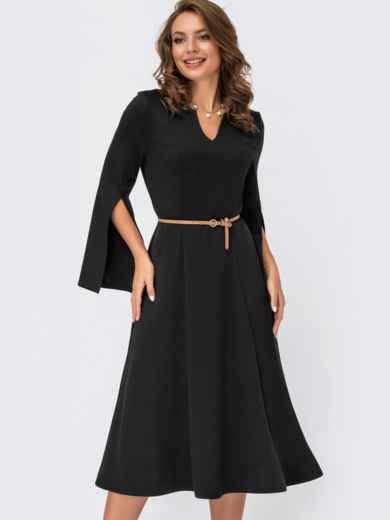 Черное платье из трикотажа с разрезами на рукавах 55528, фото 1