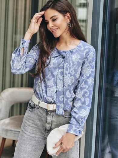 Блузка с принтом и завязками на горловине синяя 54681, фото 1