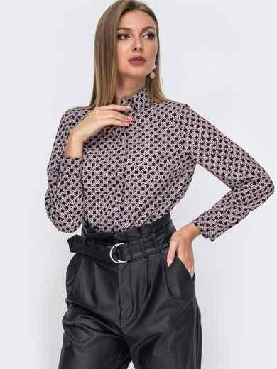Классическая рубашка с принтом чёрная 51178, фото 1