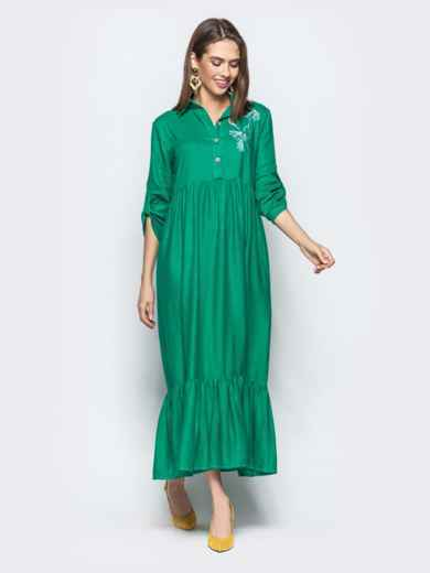 """Платье с вышивкой """"колибри"""" и завышенной талией зеленое 21922, фото 2"""