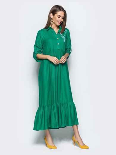 """Платье с вышивкой """"колибри"""" и завышенной талией зеленое 21922, фото 3"""