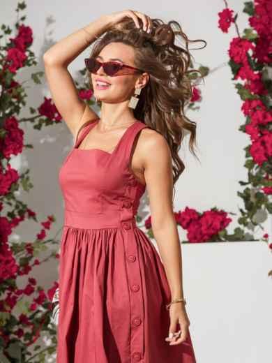 Розовый сарафан приталенного кроя из хлопка - 39311, фото 2 – интернет-магазин Dressa