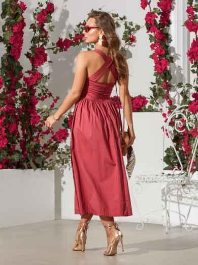 Розовый сарафан приталенного кроя из хлопка - 39311, фото 4 – интернет-магазин Dressa