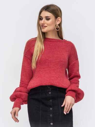 Розовый свитер со спущенной линией плеч 43129, фото 1