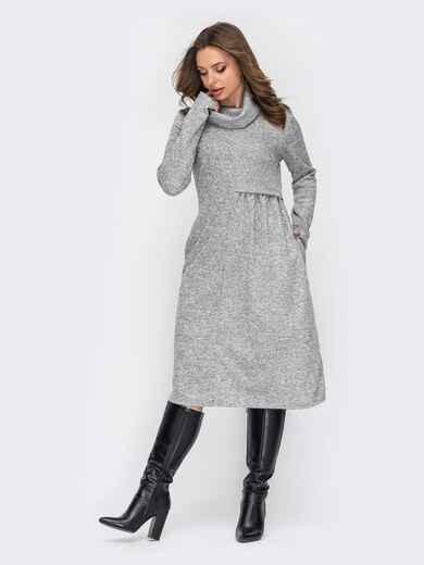 Серое платье-миди с воротником-хомут 53069, фото 1