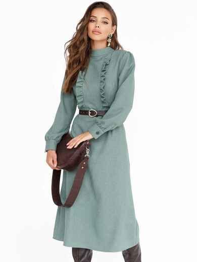 Зеленое платье с оборками по полочке и юбкой-трапецией 52540, фото 1