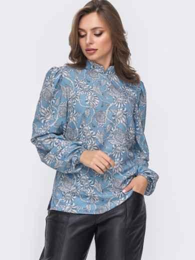 Блузка прямого кроя с принтом и воротником-стойкой голубая 51243, фото 2