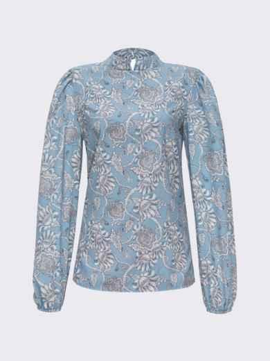 Блузка прямого кроя с принтом и воротником-стойкой голубая 51243, фото 4