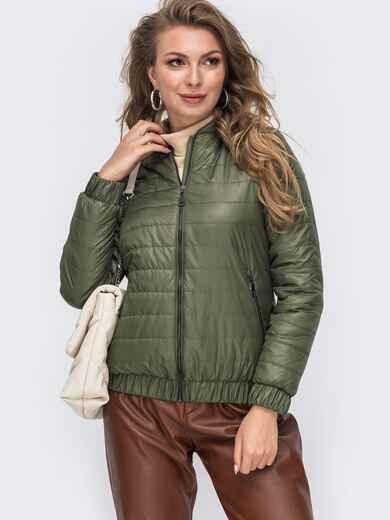Демисезонная куртка с резинкой по низу хаки 50642, фото 1