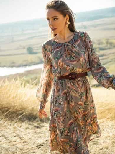 Платье из шифона с принтом и расклешенной юбкой бежевое 51245, фото 2
