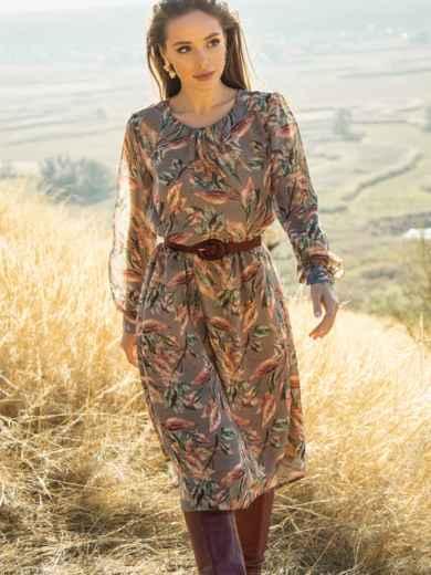 Платье из шифона с принтом и расклешенной юбкой бежевое 51245, фото 3