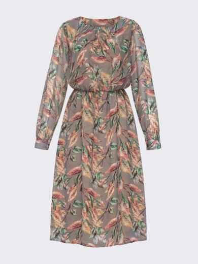 Платье из шифона с принтом и расклешенной юбкой бежевое 51245, фото 5