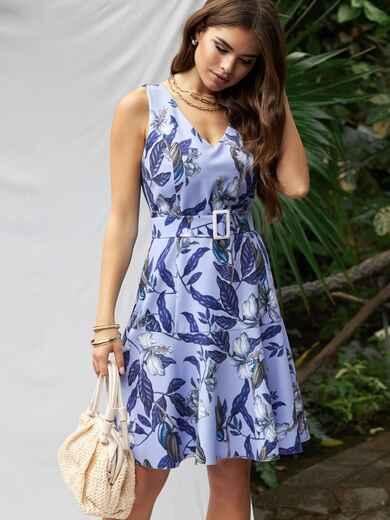 Платье приталенного силуэта с принтом и воланом по низу голубое 53703, фото 1