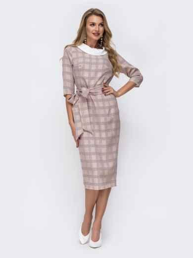 Приталенное платье в клетку с контрастным воротником бежевое - 42803, фото 2 – интернет-магазин Dressa