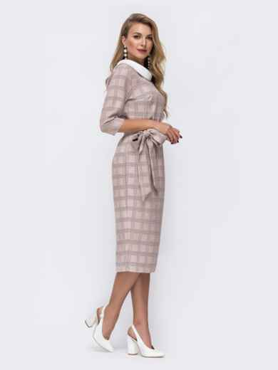 Приталенное платье в клетку с контрастным воротником бежевое - 42803, фото 3 – интернет-магазин Dressa