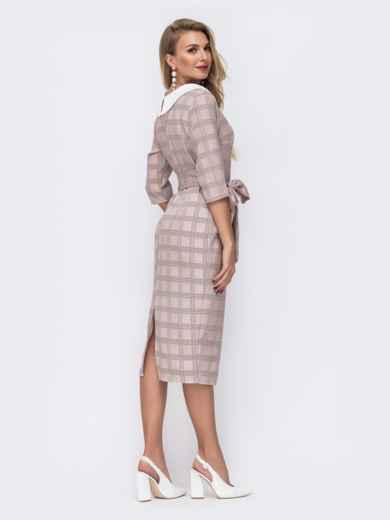 Приталенное платье в клетку с контрастным воротником бежевое - 42803, фото 4 – интернет-магазин Dressa