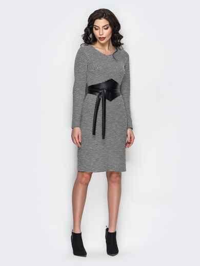 Серое платье с поясом из искусственной кожи 13858, фото 1