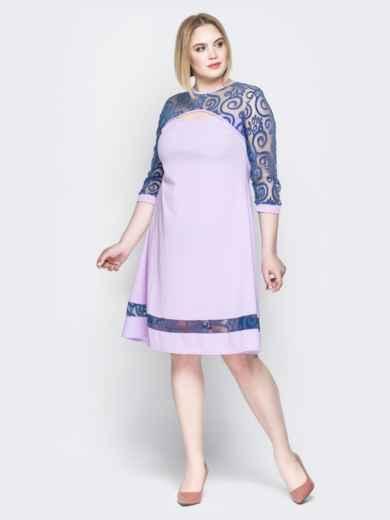 Сиреневое платье с кокеткой из гипюра и фигурным вырезом - 19961, фото 2 – интернет-магазин Dressa
