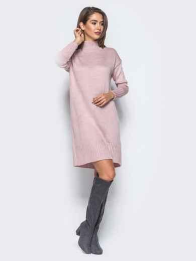 Вязаное платье свободного кроя с широким воротником розовое - 13168, фото 5 – интернет-магазин Dressa