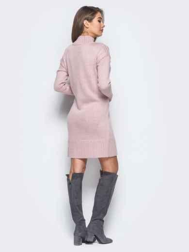 Вязаное платье свободного кроя с широким воротником розовое - 13168, фото 6 – интернет-магазин Dressa