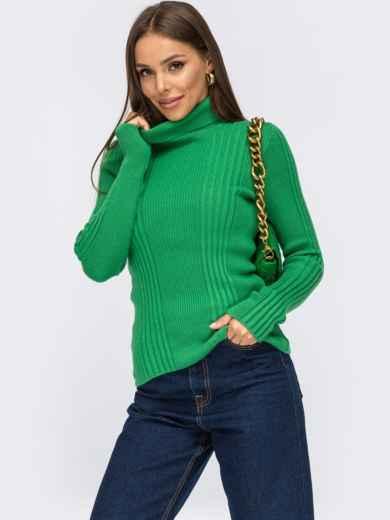 Свитер зелёного цвета с фактурными полосами 55076, фото 1
