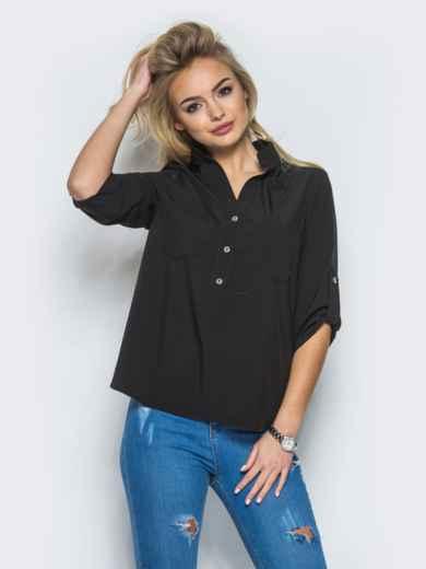 Блузка с рукавом 3/4 и карманами - 13316, фото 2 – интернет-магазин Dressa