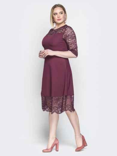 Бордовое платье приталенного кроя с гипюром - 19940, фото 2 – интернет-магазин Dressa