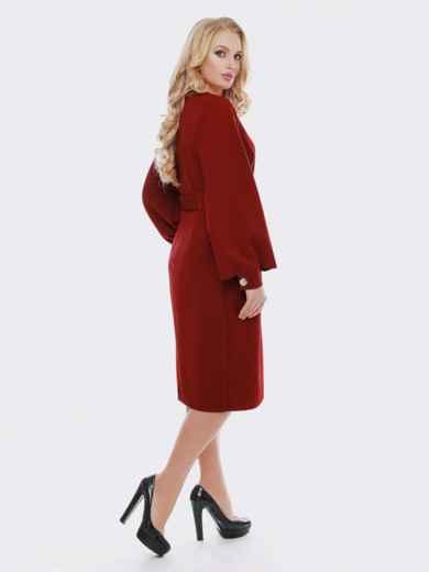 Бордовое платье с расклешенными рукавами - 19113, фото 2 – интернет-магазин Dressa