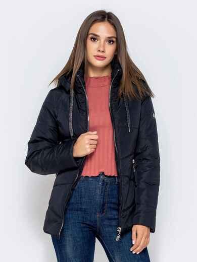 Чёрная куртка с воротником-стойкой и съёмным капюшоном 40909, фото 1