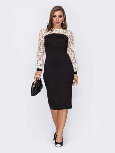Чёрное платье-футляр с контрастной кокеткой и рукавами 51979, фото 1