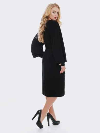 Черное платье с расклешенными рукавами 19115, фото 2