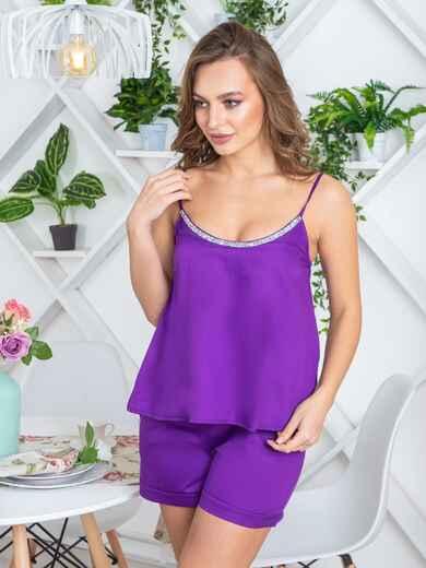 Фиолетовая пижама в полоску из топа и шорт - 20452, фото 1 – интернет-магазин Dressa