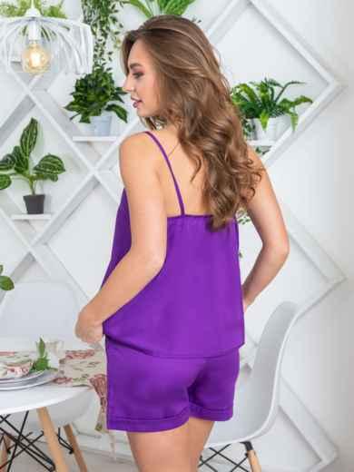 Фиолетовая пижама в полоску из топа и шорт - 20452, фото 2 – интернет-магазин Dressa