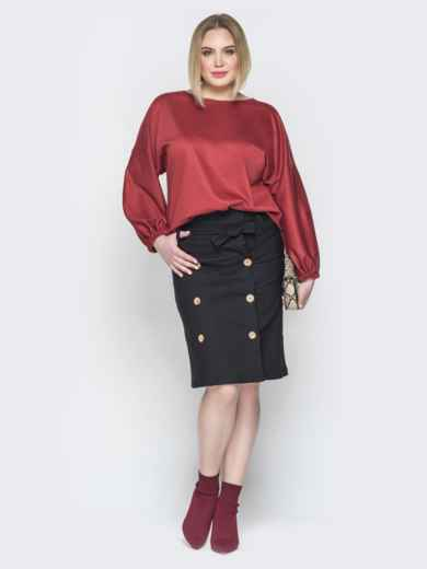 Коричневый комплект из свободной блузки и юбки 19932, фото 1