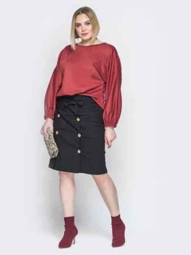 Коричневый комплект из свободной блузки и юбки 19932, фото 2