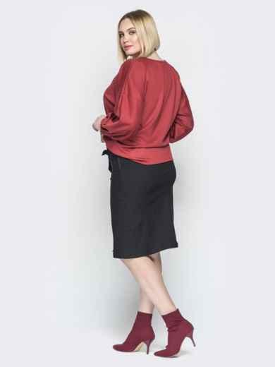 Коричневый комплект из свободной блузки и юбки 19932, фото 3