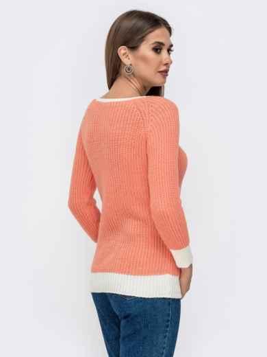Оранжевый свитер крупной вязки с накладным карманом 41574, фото 2