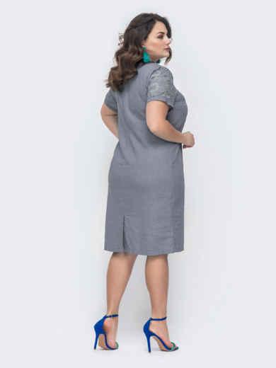 Платье батал с ажурной кокеткой тёмно-серое 49302, фото 2